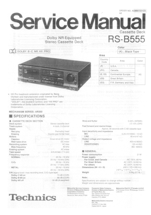 Download TECHNICS RS-B555 Service Manual