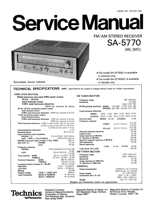 Download TECHNICS SA-5770 Service Manual