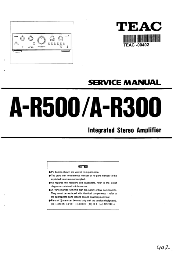 Download TEAC A-R500 Service Manual