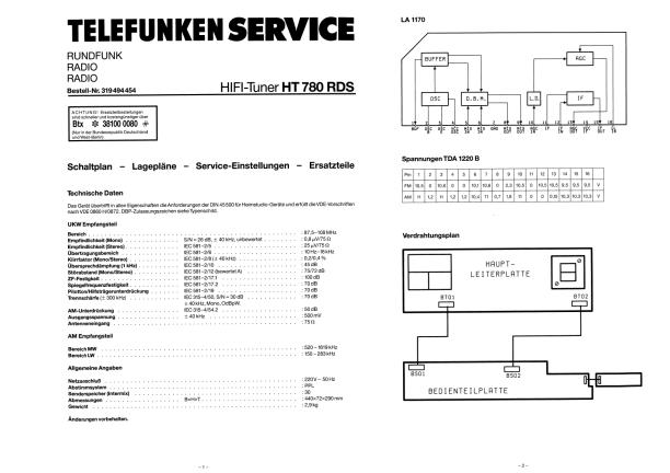 Download TELEFUNKEN HT780 RDS Service Manual