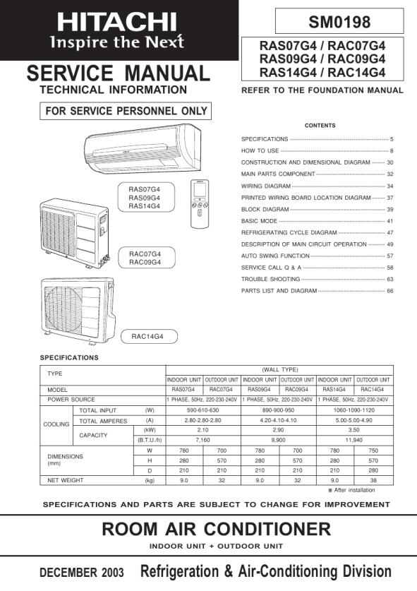 Download HITACHI RAC14G4 Service Manual
