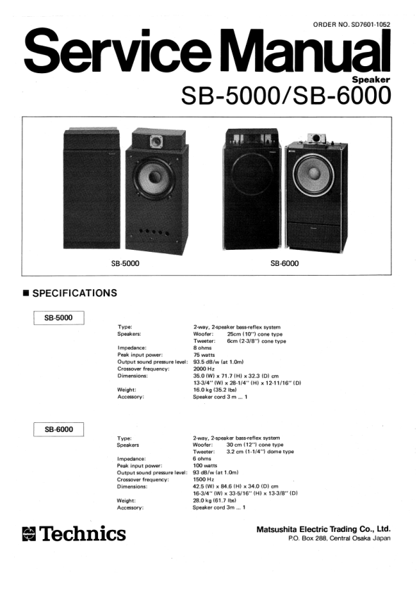 Review of TECHNICS SB-6000 Service Manual