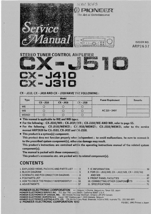 Download PIONEER CX-J510 Service Manual