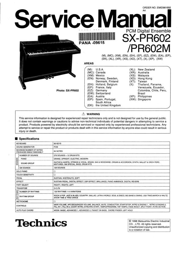 Download TECHNICS SX-PR602 Service Manual